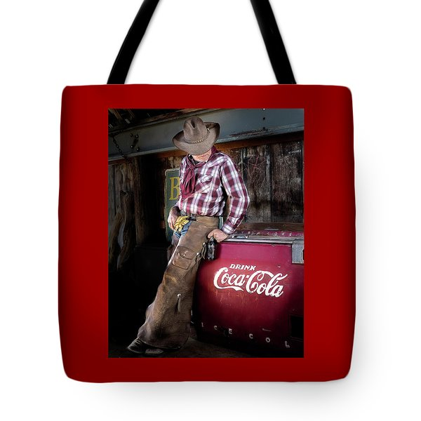Tote Bag featuring the photograph Classic Coca-cola Cowboy by James Sage