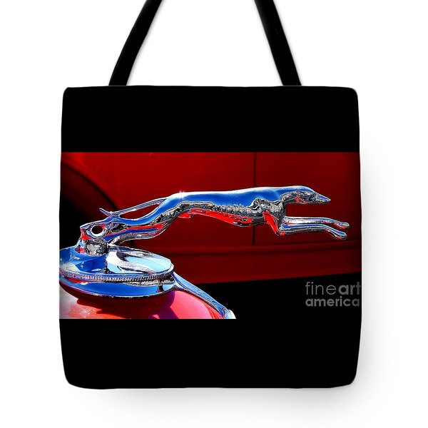 Tote Bag featuring the photograph Classic Ford Greyhound Hood Ornament by Patricia L Davidson