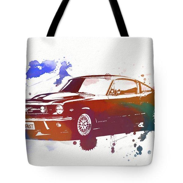 Classic Ford Mustang Watercolor Splash Tote Bag by Dan Sproul