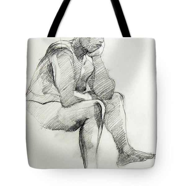 Classic Life Drawing Of A Sitting Man Sleeping Tote Bag
