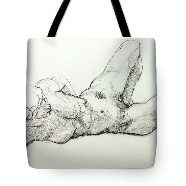 Classic Life Drawing Of A Young, Relaxed Female Nude Listening Tote Bag