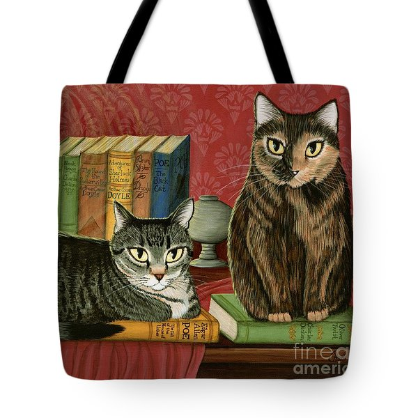 Tote Bag featuring the painting Classic Literary Cats by Carrie Hawks