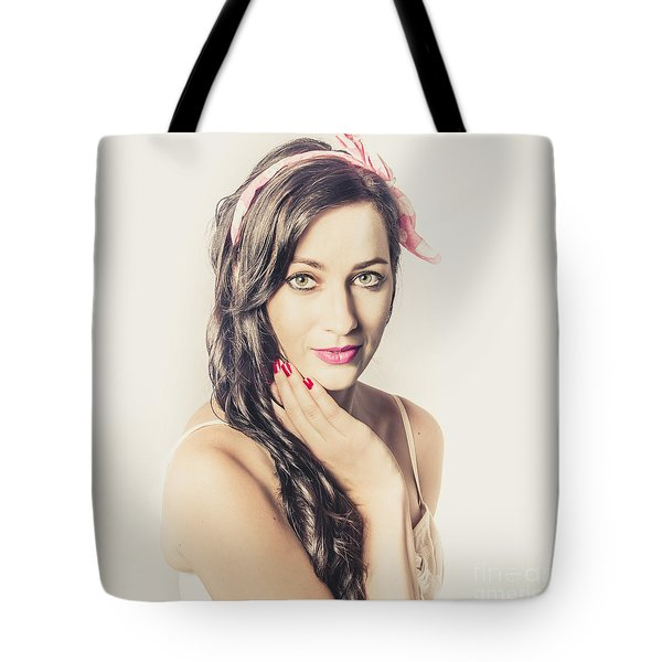 Tote Bag featuring the photograph Classic Old Style Pin-up Girl by Jorgo Photography - Wall Art Gallery