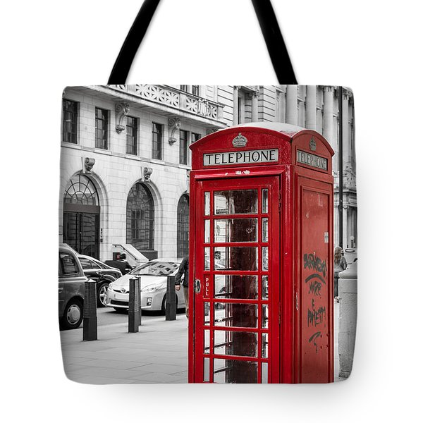Red Telephone Box In London England Tote Bag by John Williams