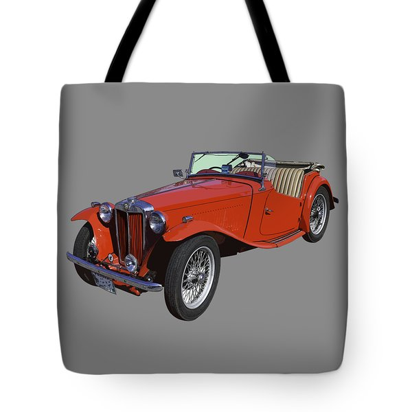 Classic Red Mg Tc Convertible British Sports Car Tote Bag
