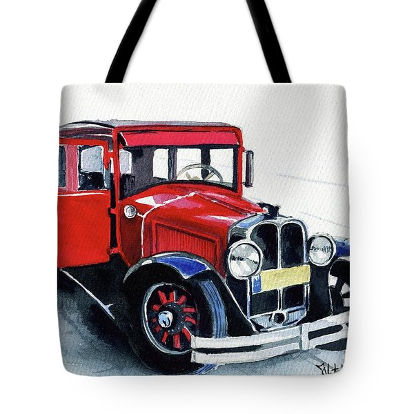 Tote Bag featuring the painting Classic Red Pontiac Car 1930 by Dora Hathazi Mendes