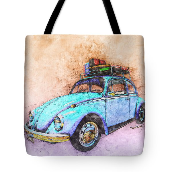 Classic Road Trip Ride Watercolour Sketch Tote Bag
