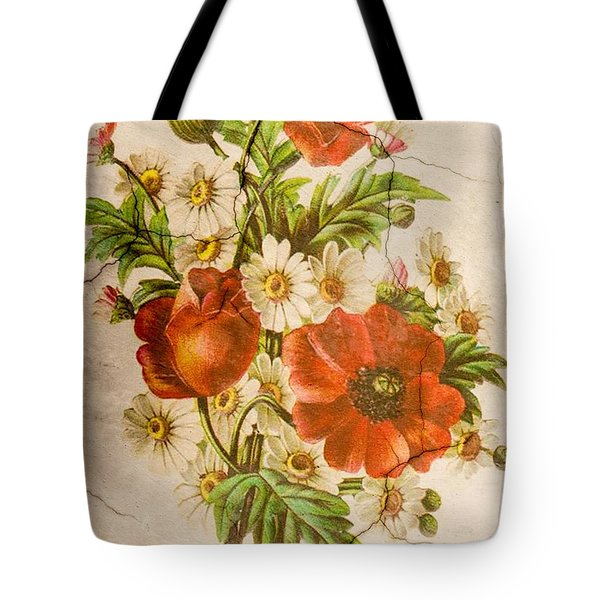 Classic Vintage Shabby Chic Rustic Poppy Bouquet Tote Bag