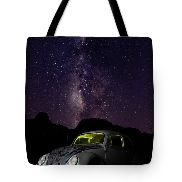 Classic Vw Bug Under The Milky Way Tote Bag