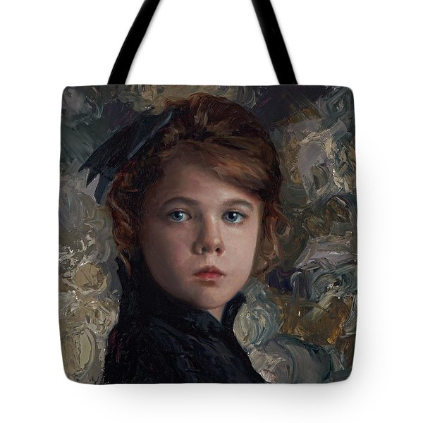 Tote Bag featuring the painting Classical Portrait Of Young Girl In Victorian Dress by Karen Whitworth