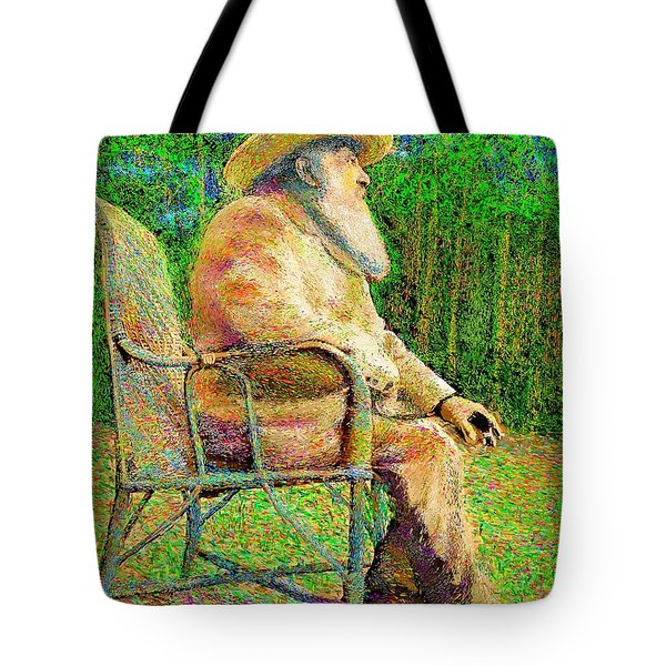Claude Monet In His Garden Tote Bag by Hidden Mountain