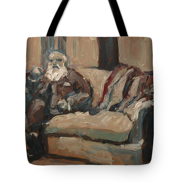 Claude Monet In His Studio Couch Tote Bag
