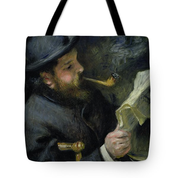Claude Monet Reading A Newspaper Tote Bag by Pierre Auguste Renoir
