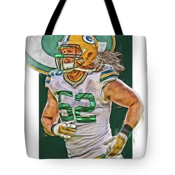 Clay Matthews Green Bay Packers Oil Art Tote Bag