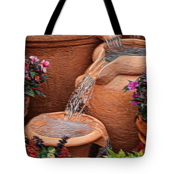 Clay Pot Fountain Tote Bag