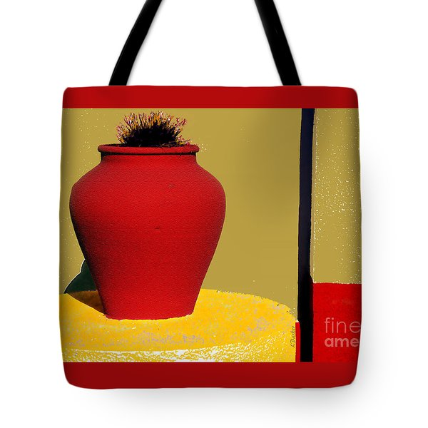 Clay Pot In Red Tote Bag by Linda  Parker