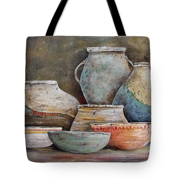 Tote Bag featuring the painting Clay Pottery Still Lifes-a by Jean Plout