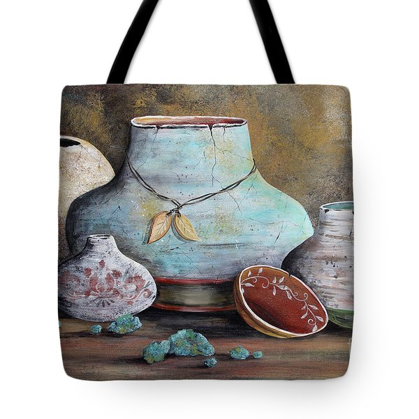 Tote Bag featuring the painting Clay Pottery Still Lifes-b by Jean Plout