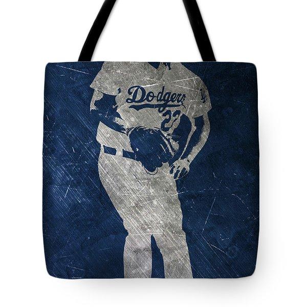 Clayton Kershaw Los Angeles Dodgers Art Tote Bag