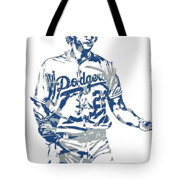 Clayton Kershaw Los Angeles Dodgers Pixel Art 10 Tote Bag