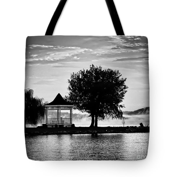 Claytor Lake Gazebo - Black And White Tote Bag