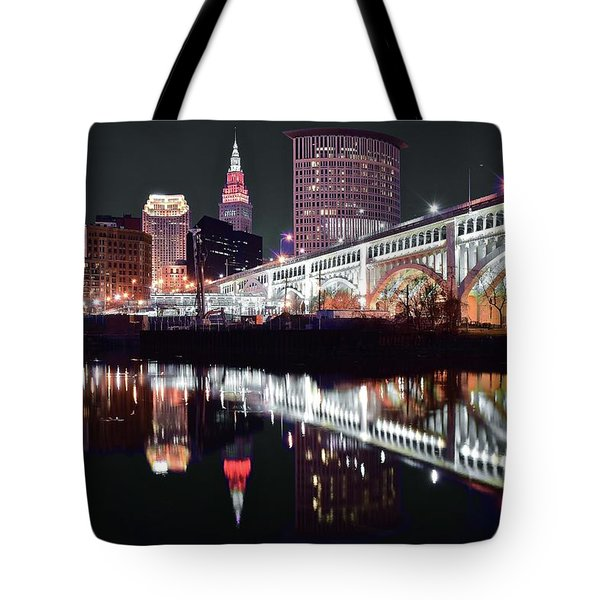 Tote Bag featuring the photograph Cle In Selective Color by Frozen in Time Fine Art Photography