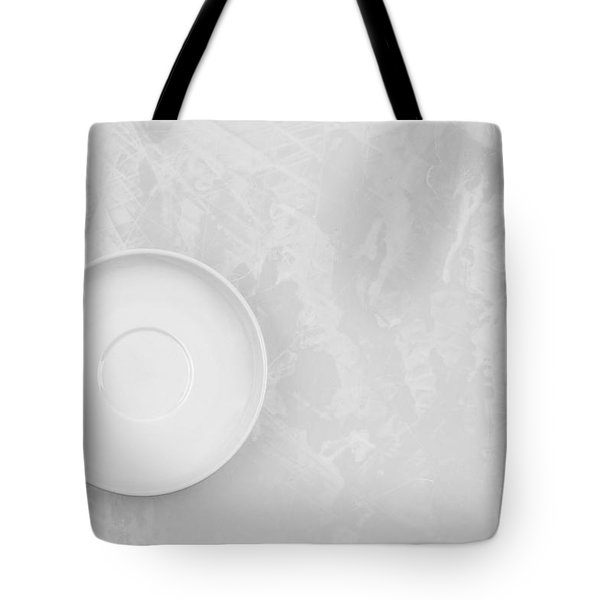 Tote Bag featuring the photograph Clean White Dish And An Old Silver Spoon  by Andrey  Godyaykin