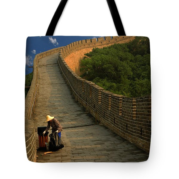 Cleaning The Great Wall Tote Bag by Harry Spitz