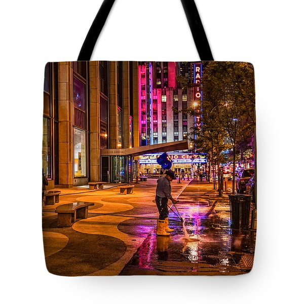 Cleaning With Neon Tote Bag by Jeffrey Friedkin