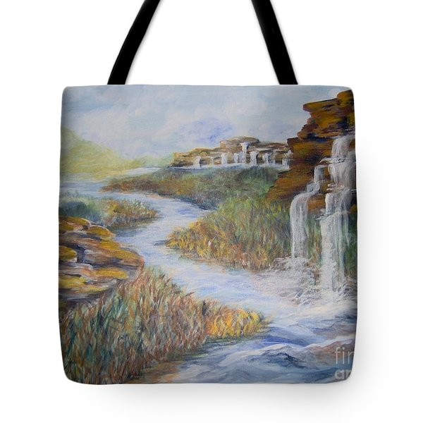 Tote Bag featuring the painting Cleansing by Saundra Johnson