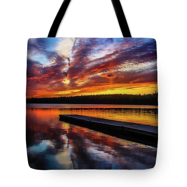 Clear Lake At Sunset. Riding Mountain National Park, Manitoba, Canada. Tote Bag