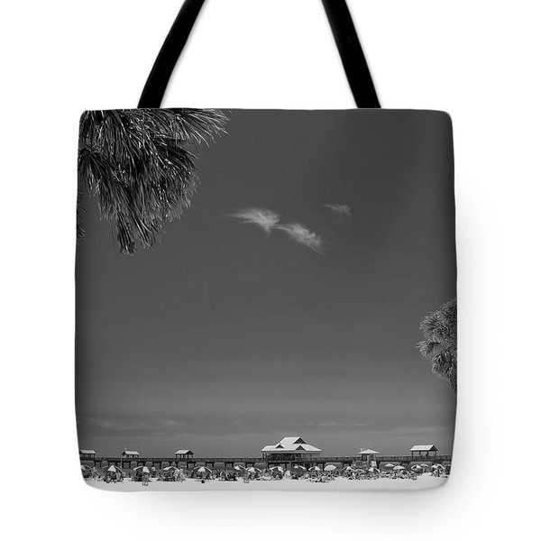 Clearwater Beach Bw Tote Bag by Adam Romanowicz