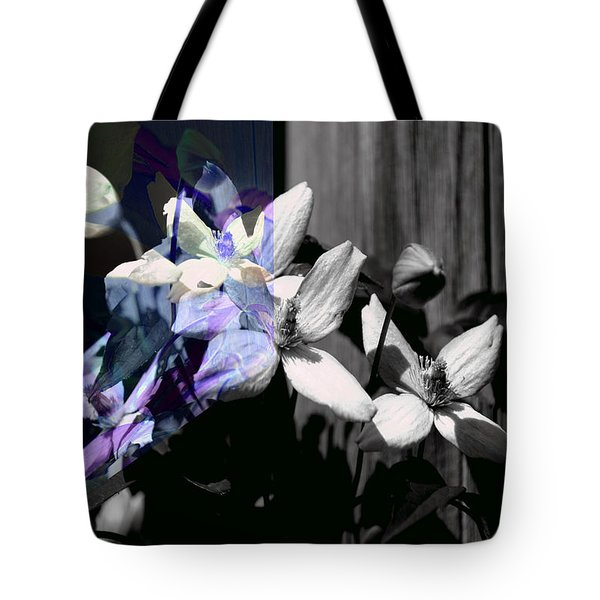Clematis 2 Shades Of Grey Tote Bag by Elaine Hunter