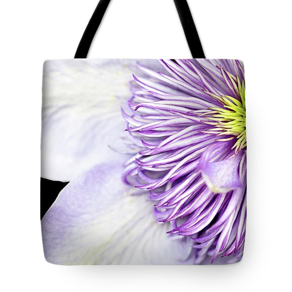 Tote Bag featuring the photograph Clematis Center by Rebecca Cozart
