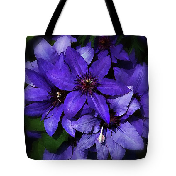 Tote Bag featuring the photograph Clematis by Elaine Manley