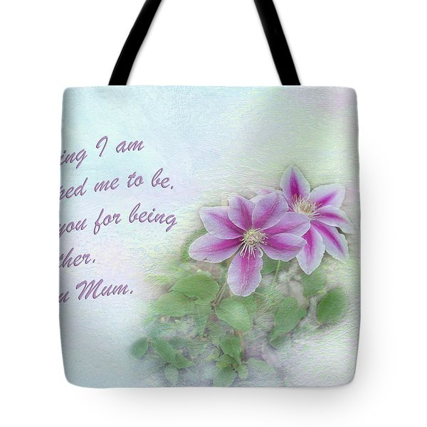 Tote Bag featuring the photograph Clematis by Elaine Teague