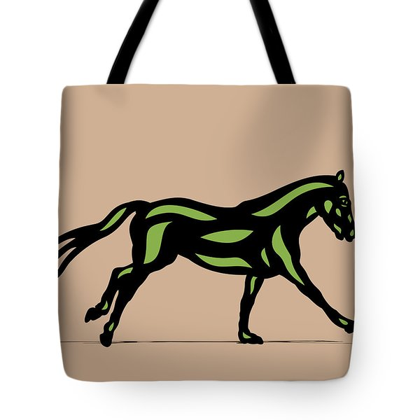 Clementine - Pop Art Horse - Black, Geenery, Hazelnut Tote Bag