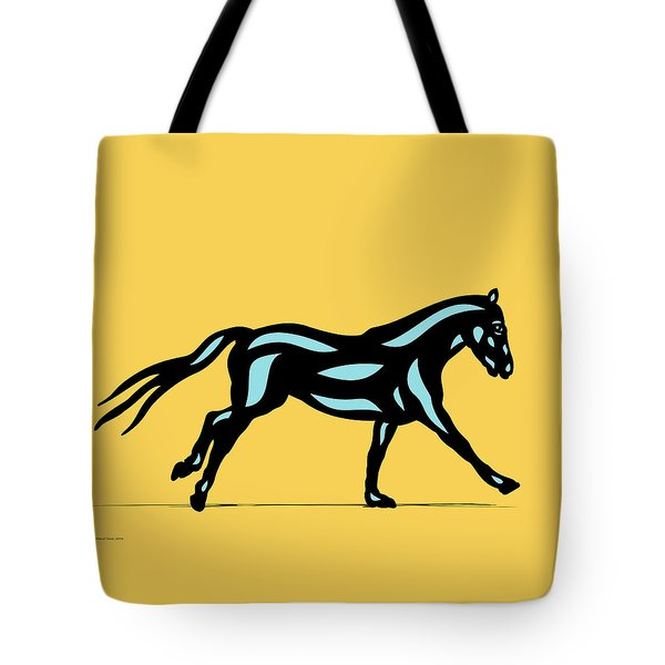 Clementine - Pop Art Horse - Black, Island Paradise Blue, Primrose Yellow Tote Bag