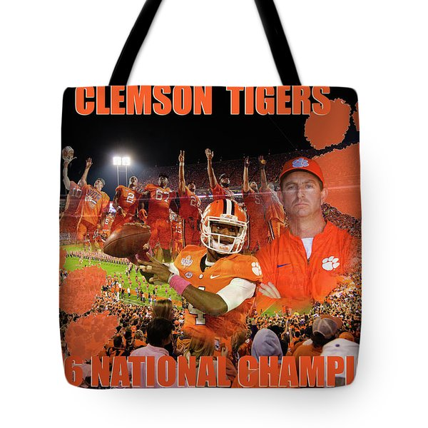 Tote Bag featuring the digital art Clemson National Champs by Lynne Jenkins