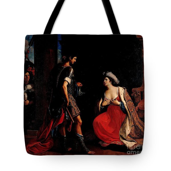 Tote Bag featuring the painting Cleopatra And Octavian by Pg Reproductions