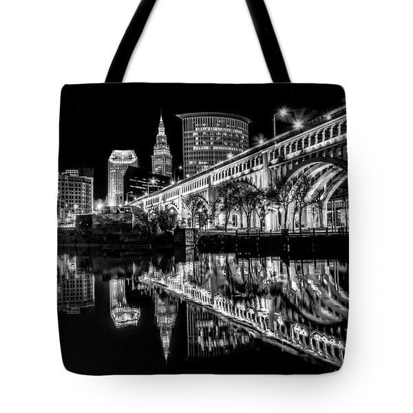 Cleveland After Dark Tote Bag by Brent Durken