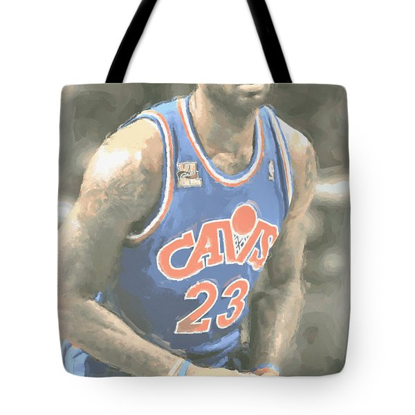 Cleveland Cavaliers Lebron James 1 Tote Bag by Joe Hamilton