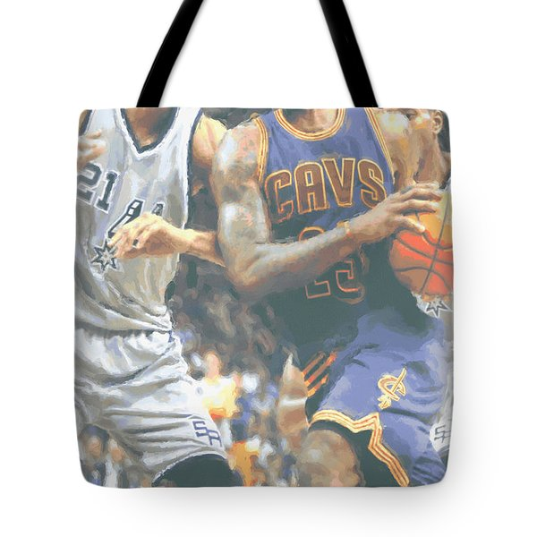 Cleveland Cavaliers Lebron James 4 Tote Bag by Joe Hamilton