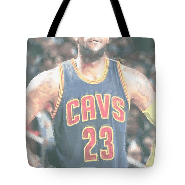 Cleveland Cavaliers Lebron James 5 Tote Bag by Joe Hamilton