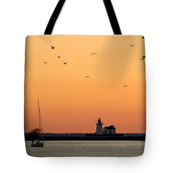 Cleveland Harbor Sunset Tote Bag by Jon Holiday