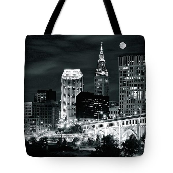 Cleveland Iconic Night Lights Tote Bag by Frozen in Time Fine Art Photography