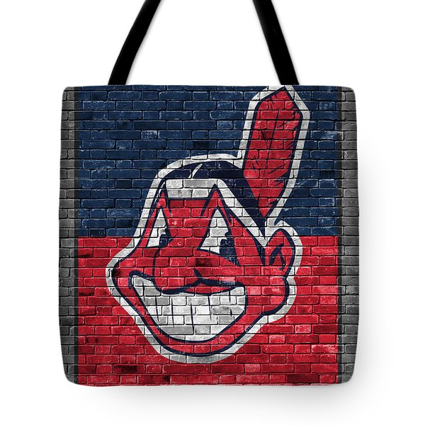 Cleveland Indians Brick Wall Tote Bag
