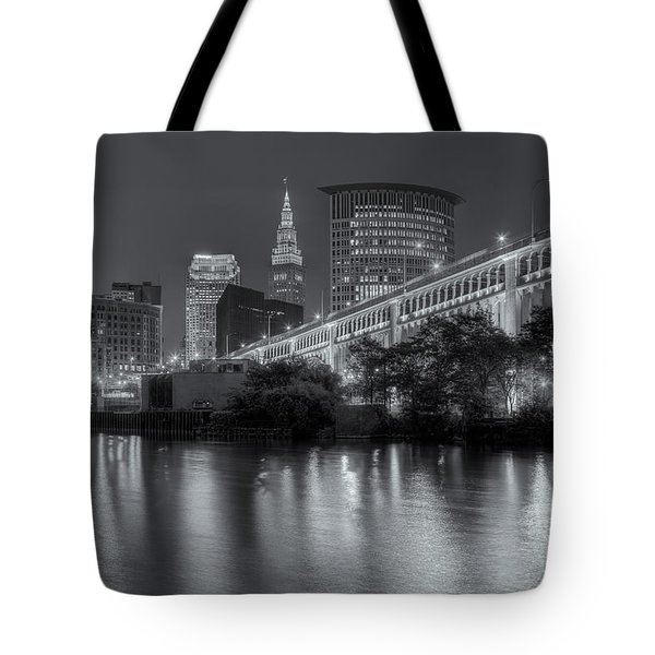 Cleveland Night Skyline IIi Tote Bag