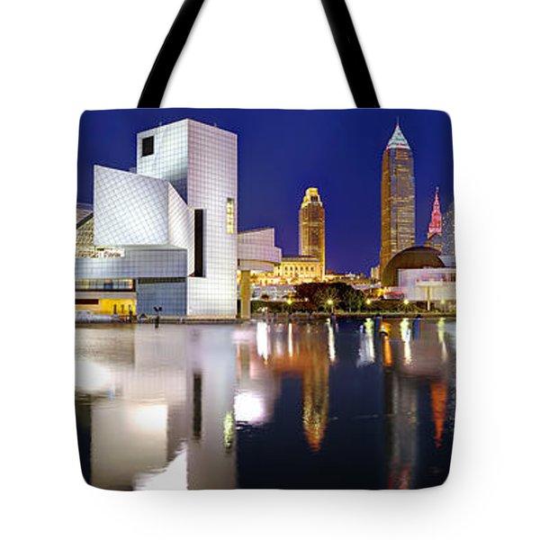 Cleveland Skyline At Dusk Tote Bag