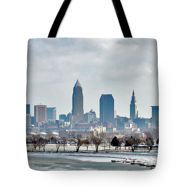 Cleveland Skyline In Winter Tote Bag by Bruce Patrick Smith